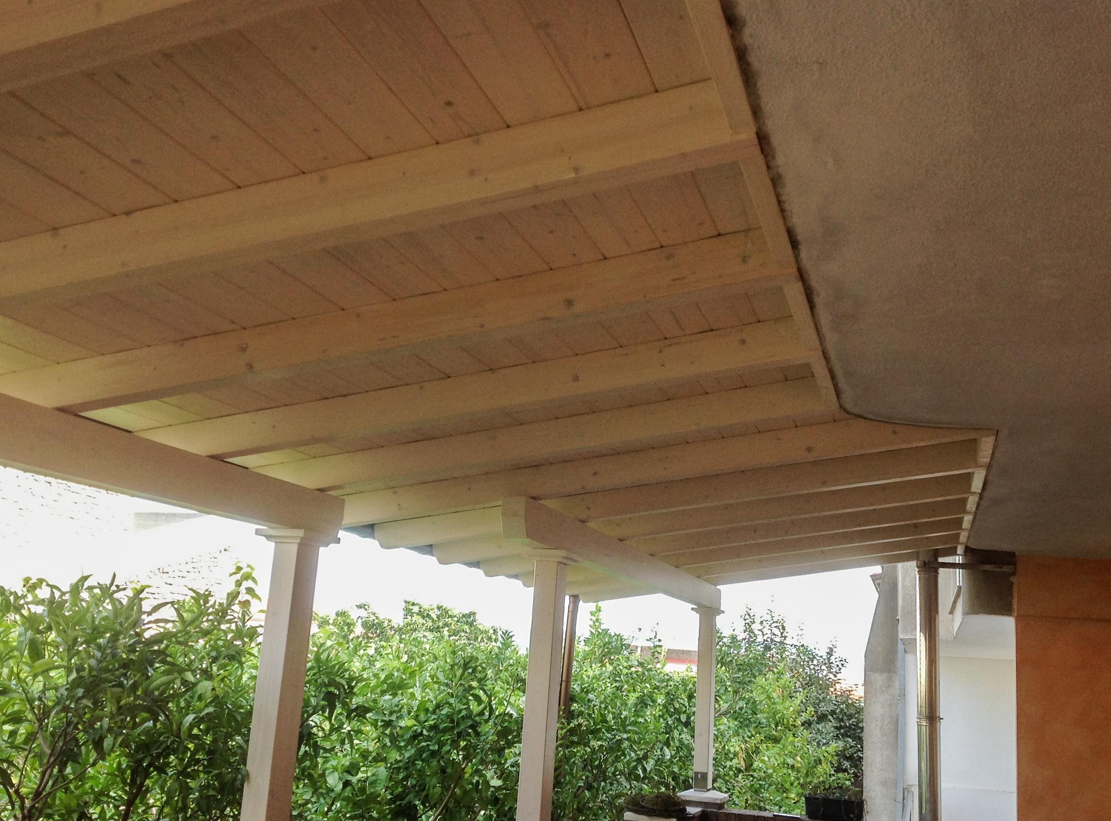 Pergola copertura veranda in legno lamellare abete verniciato