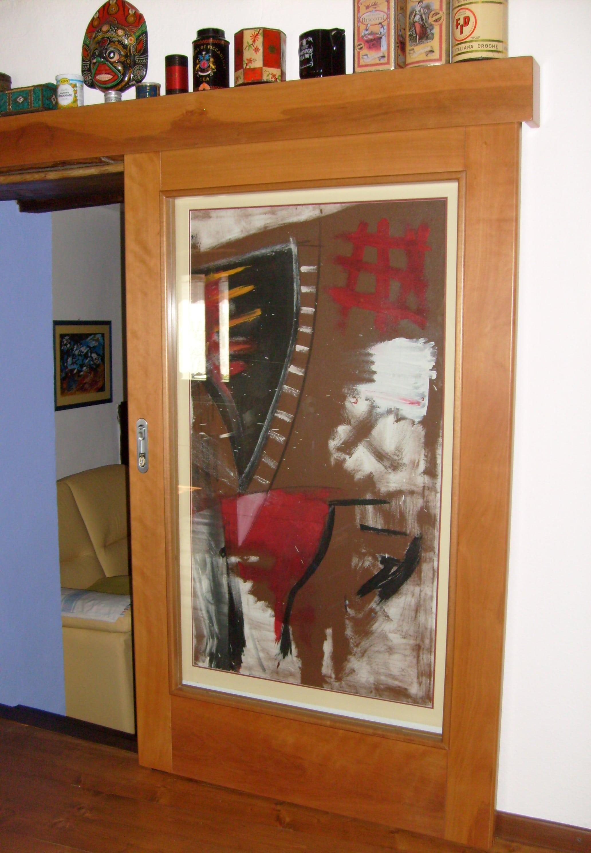 Porta scorrevole esterno muro con specchio