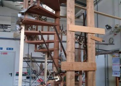 Fase lavorazione scala a chiocciola con passamano circolare