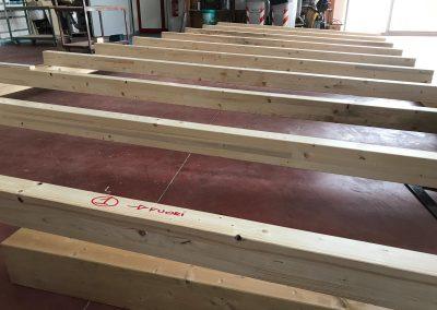 Realizzazione copertura in legno lamellare abete per box terrazza di una pasticceria-caffetteria