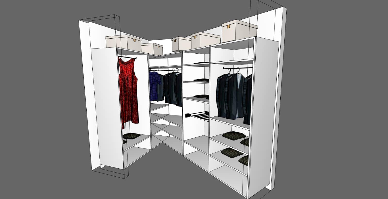 Progetto cabina armadio su misura